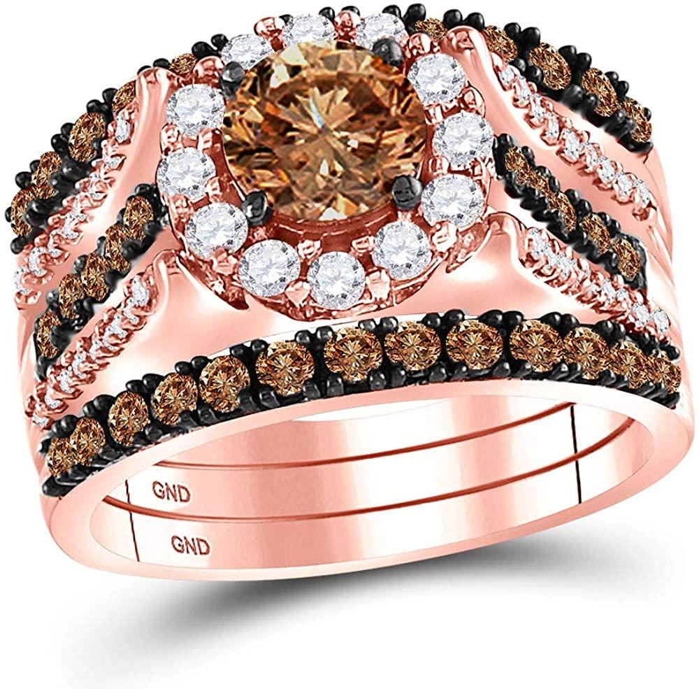 Dazzlingrock Collection 14kt Rose Gold Womens Round Brown Diamond Bridal Wedding Ring Band Set 2-1/4 Cttw