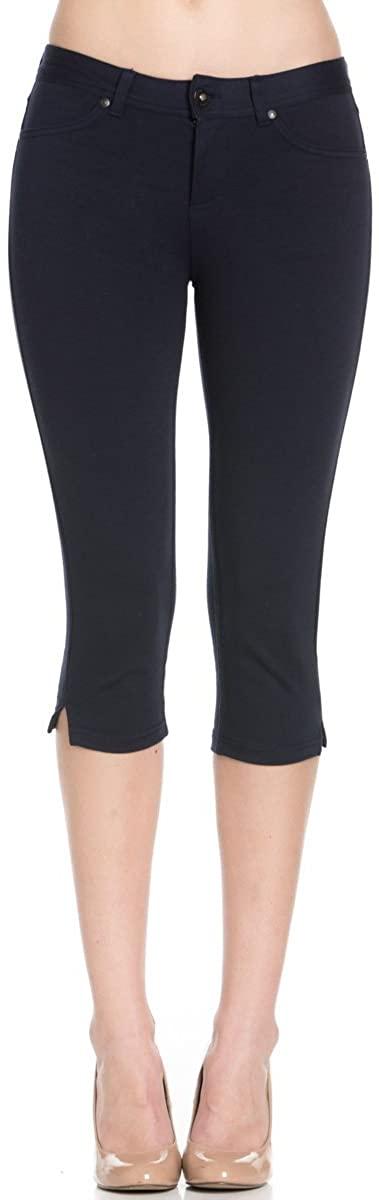 Poplooks Women's 4 Way Stretchy Ponte Knit Capri Skinny Jeans
