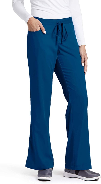 Grey's Anatomy Women's Junior-Fit Five-Pocket Drawstring Scrub Pant - Small Petite - Indigo