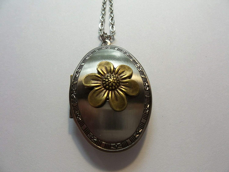 Antique Silver Color Flower Oval Locket LH-30