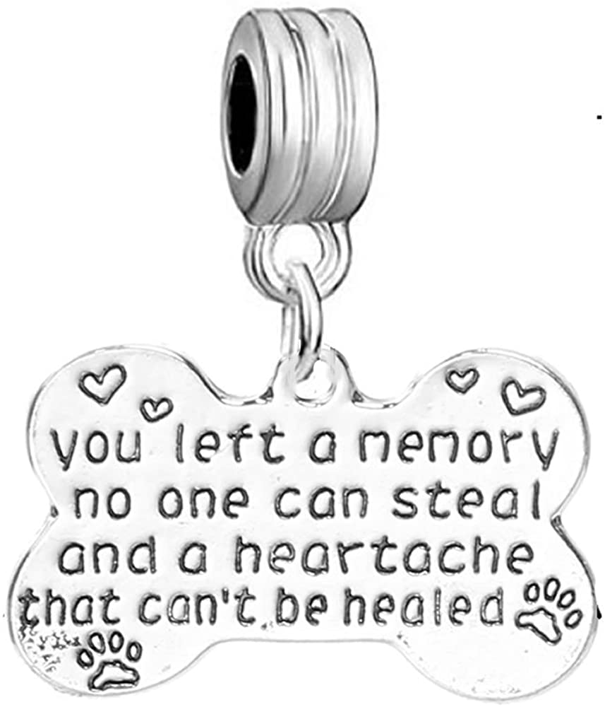 Sexy Sparkles Pet Memorial Charm You Left a Memory no one can Steal and a Heartache That Can't be Healed European Spacer Dangling Compatible Charm