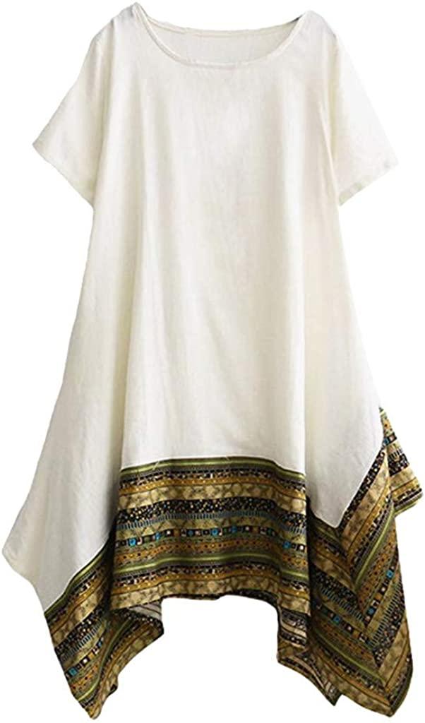 Giulot Women's Classic Boho Ethnic Style Midi Dress Short Sleeve Loose T-Shirt Dress Irregular Hem Casual Swing Dress