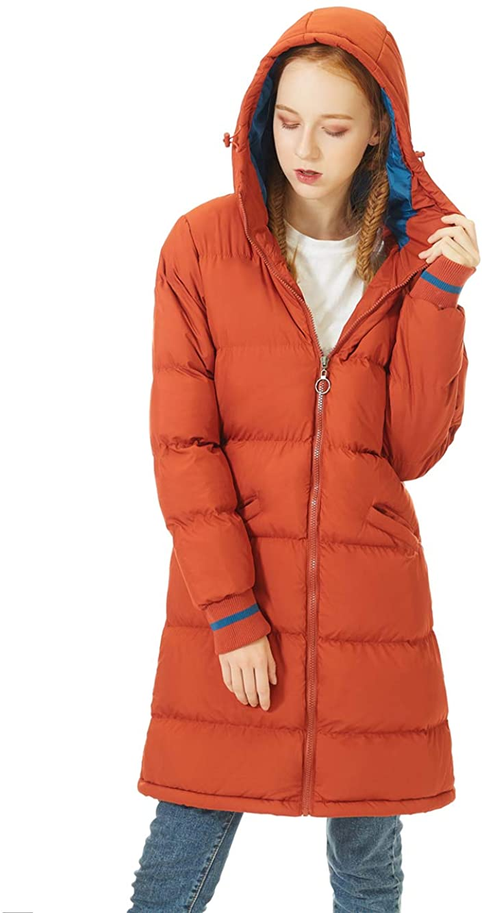 SUNDAY ROSE Women Long Puffer Jacket Hooded Quilted Puffy Coat