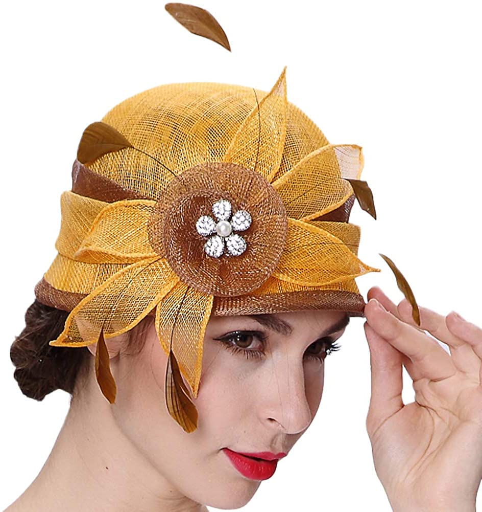 Koola Flower Fascinator Hat for Women Wedding Hats Fascinators Tea Party Feather Cocktail Headwear