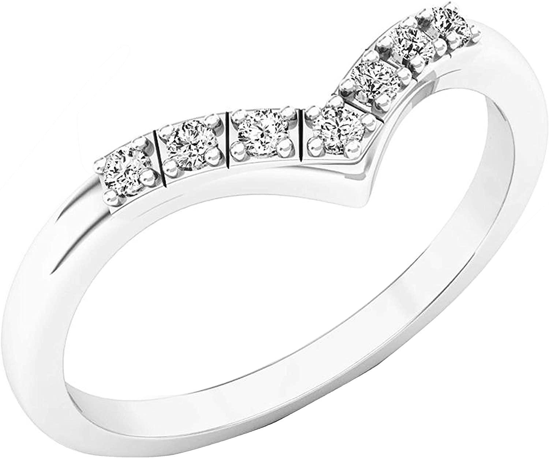 Dazzlingrock Collection 0.10 Carat (ctw) Round Diamond Ladies Chevron Anniversary Wedding Band 1/10 CT, Available in 10K/14K/18K Gold