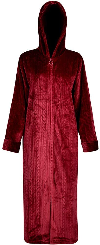 llwannr Bathrobe Robe Nightgown Sleep,Men Winter Plus Size Long Warm Coral Bathrobe 40-110KG Hooded Flannel Cozy Bath Robe Night Dressing Gown Women Sleepwear,Women Hooded Wine,M