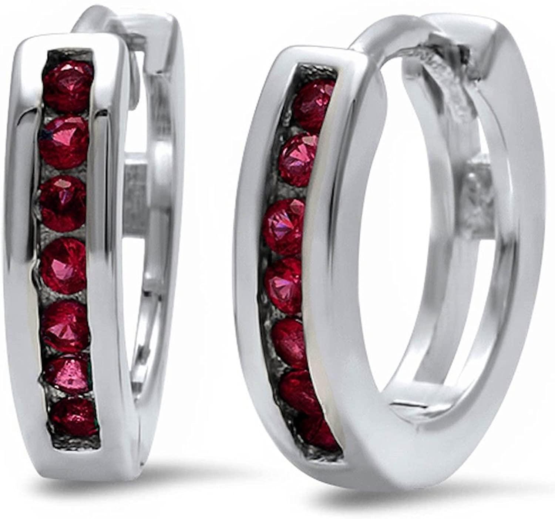 Half Eternity Round Simulated Ruby 925 Sterling Silver Hoop Earrings