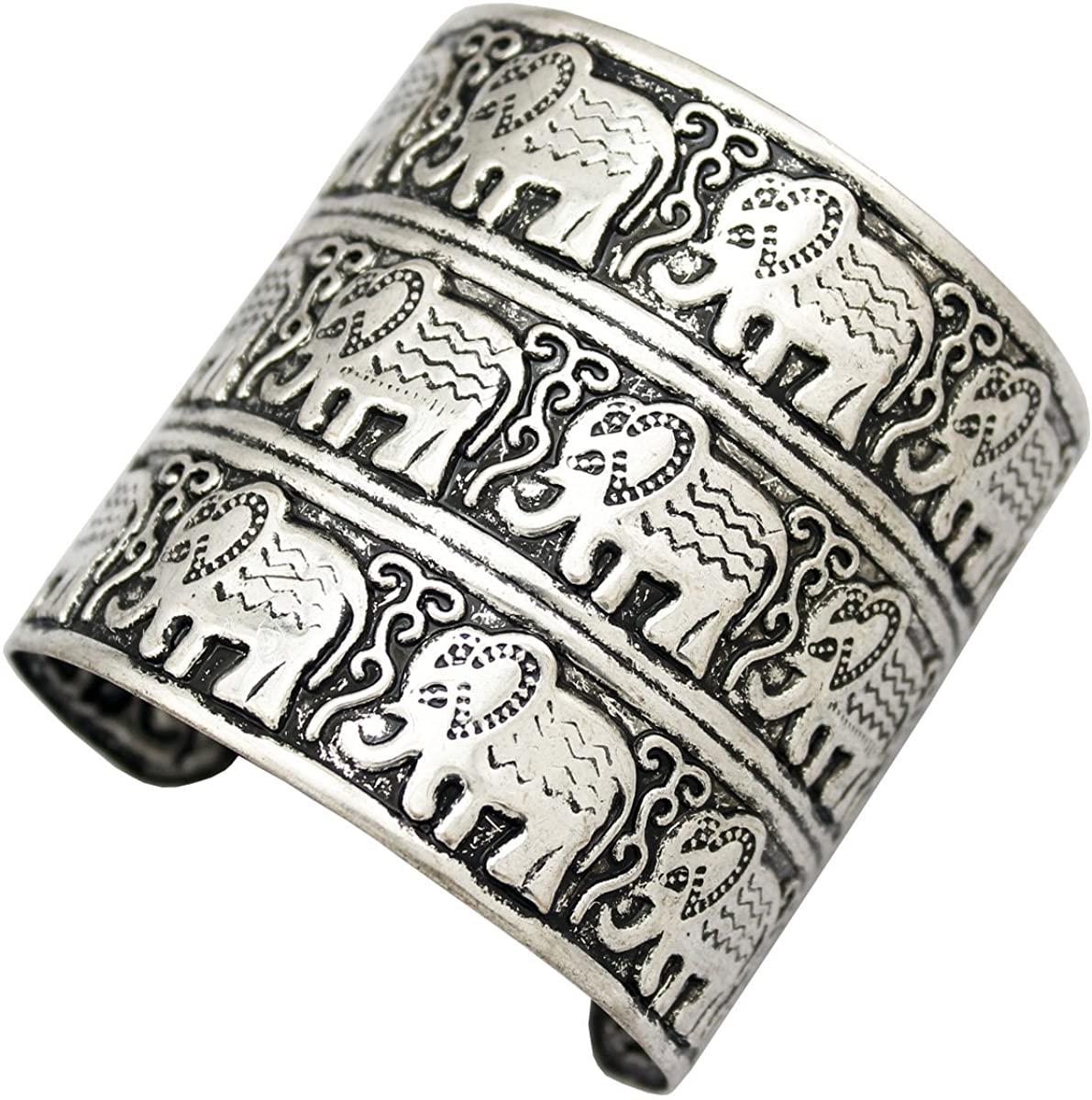 Q&Q Fashion Egypt African Embossed Vintage Elephant OM Hindu Ganesha Bracelet Bangle Cuff