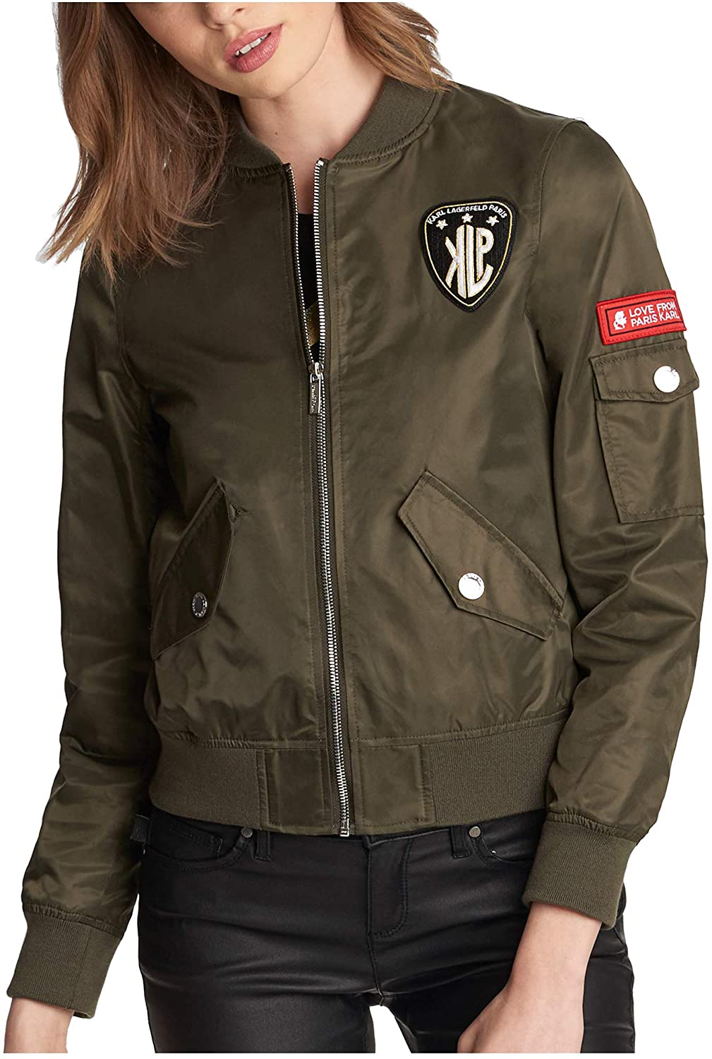 Karl Lagerfeld Paris Women's Bomber Jacket W Patches