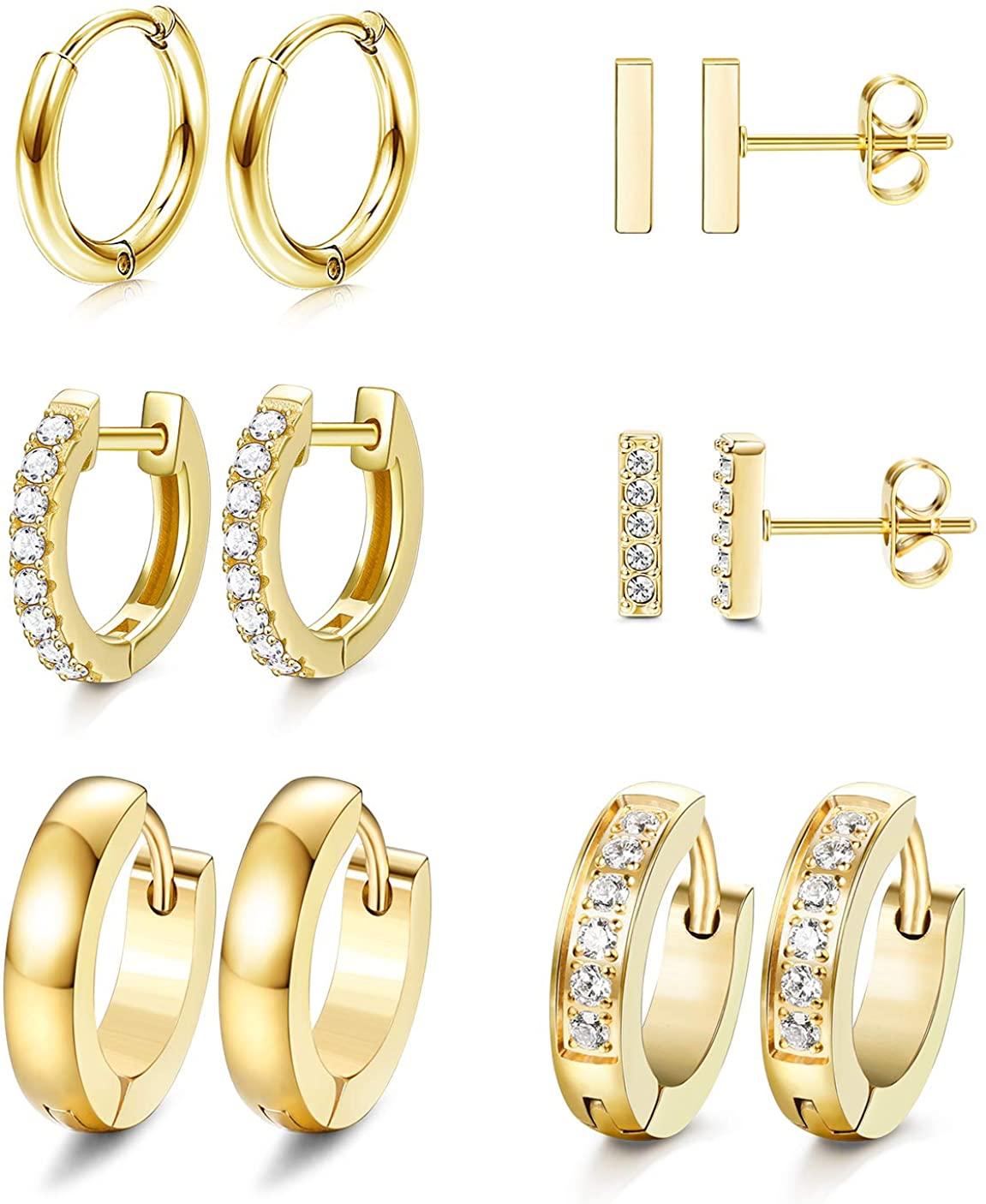 JOERICA 6 Pairs Hoop Huggie Earrings for Women Girls Minimalist Cuff Mini Bar Stud Earrings Gold Silver Cubic Zirconia Small Ear Piercing Set