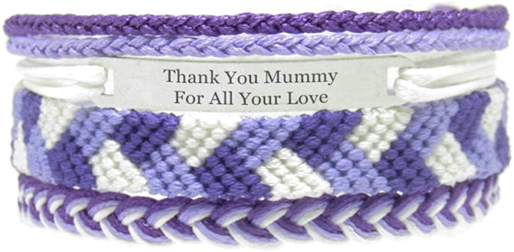 Miiras Family Engraved Handmade Bracelet - Thank You Mummy for All Your Love - Purple - Made of Embroidery Thread and Stainless Steel - Gift for Mummy