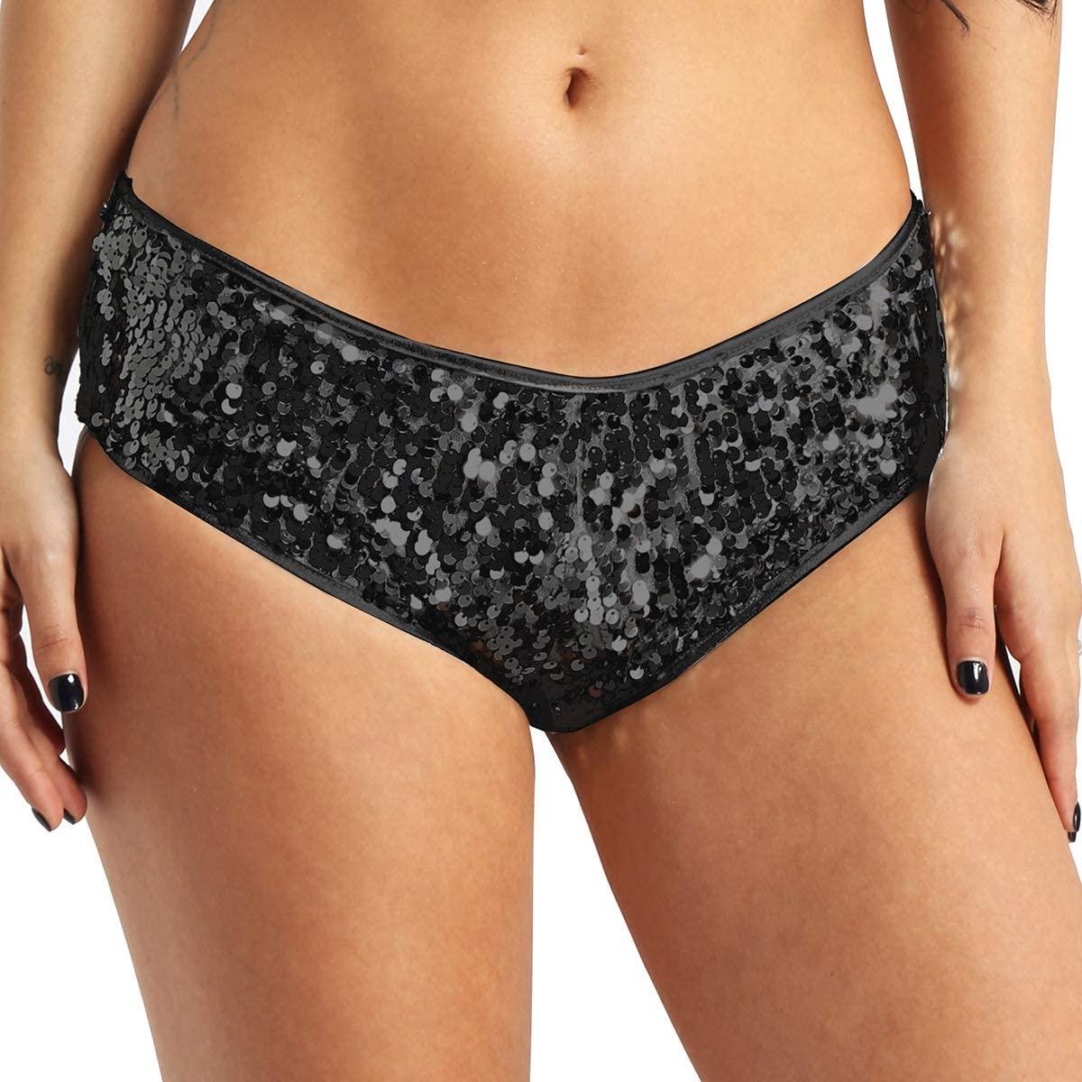 Agoky Women's Glittery Sequins Metallic Booty Shorts Rave Dance Bottoms Club Wear