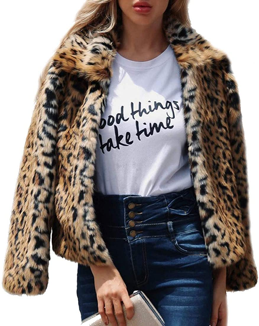 Comeon Women's Faux Fur Coat Fashion Winter Warm Outwear Jacket Cardigan Cocktail Club Party