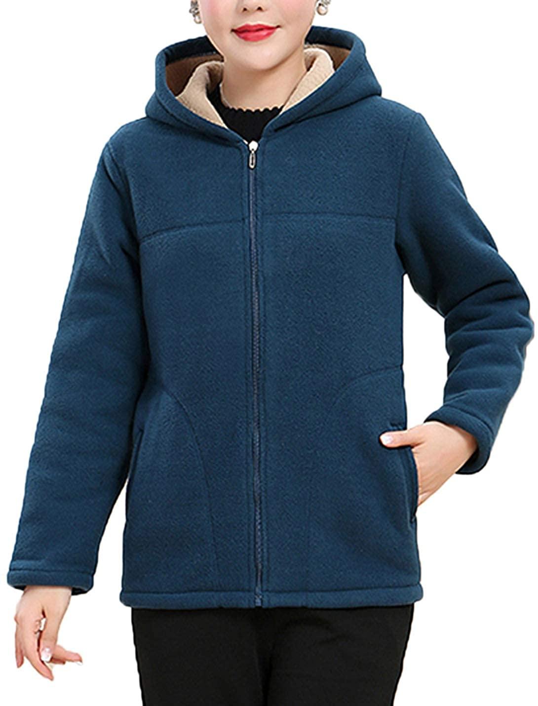 Flygo Womens Winter Warm Zip Up Hoodie Sweatshirt Fleece Jacket Coat