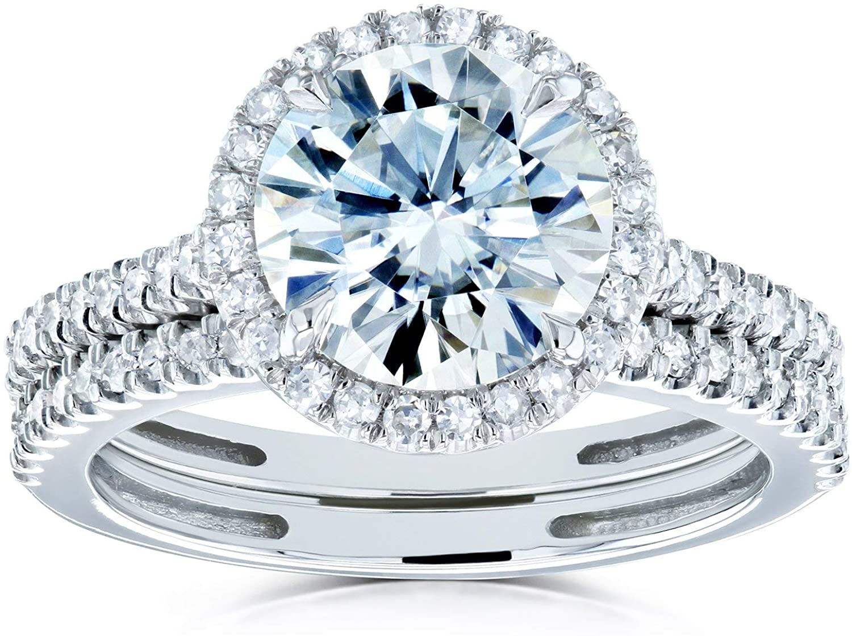 Kobelli Round Brilliant Moissanite Halo Bridal Wedding Rings Set 2 1/3 CTW 14k White Gold