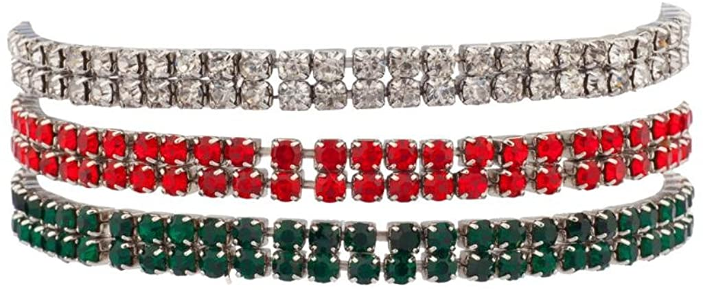 Lux Christmas Xmas Star Studded Embellisted Stretch Pave Bracelet