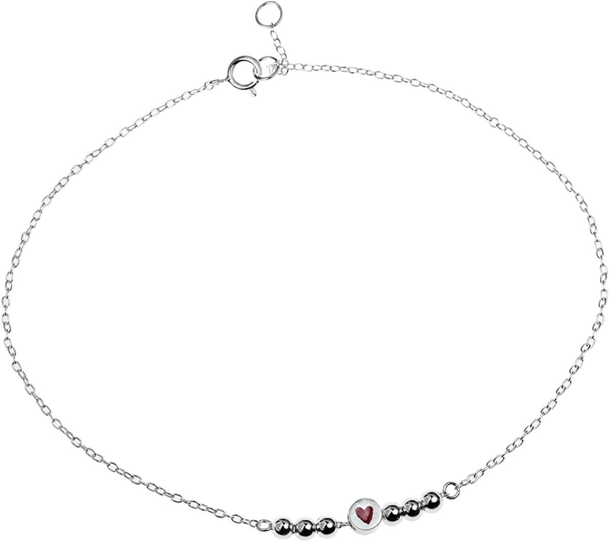 Sterling Silver Love Heart Adjustable Ankle Bracelet, 9