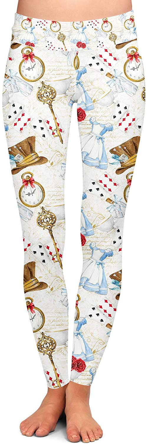 Yoga Leggings, Full Length, Low Waist - Wonderland Icons White