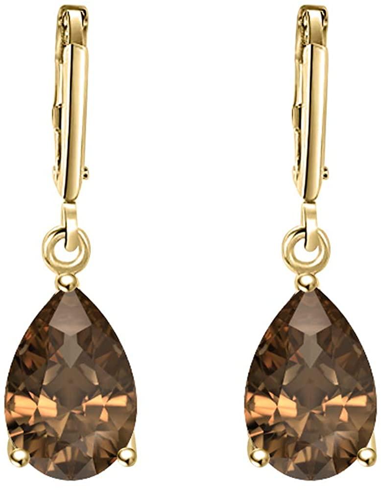 SVC-JEWELS Wonderful 6x8mm Pear Cut Smoky Quartz Over .925 Sterling Silver Fancy Party Wear Dangle Clip-On Earrings For Women