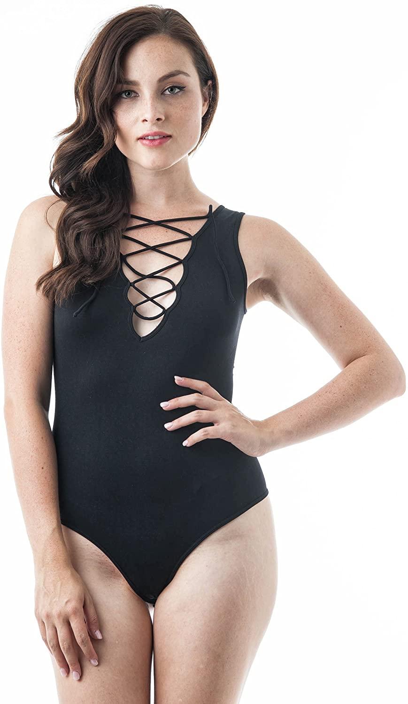 Khanomak Women's Plain One Size Ribbed Sides Sleeveless Lace up Bodysuit
