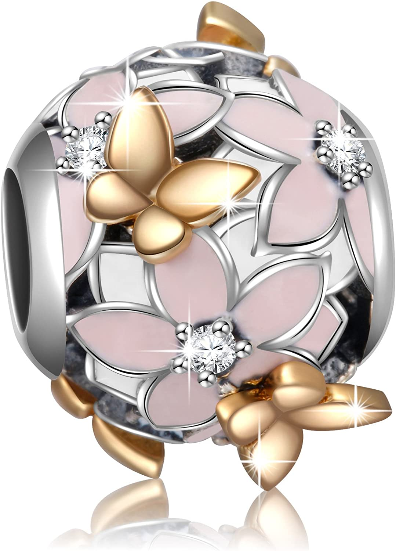 Angemiel 925 Sterling Silver Magnolia Bloom Enamel & CZ Charms Bead for European Bracelets Women Girl Gifts