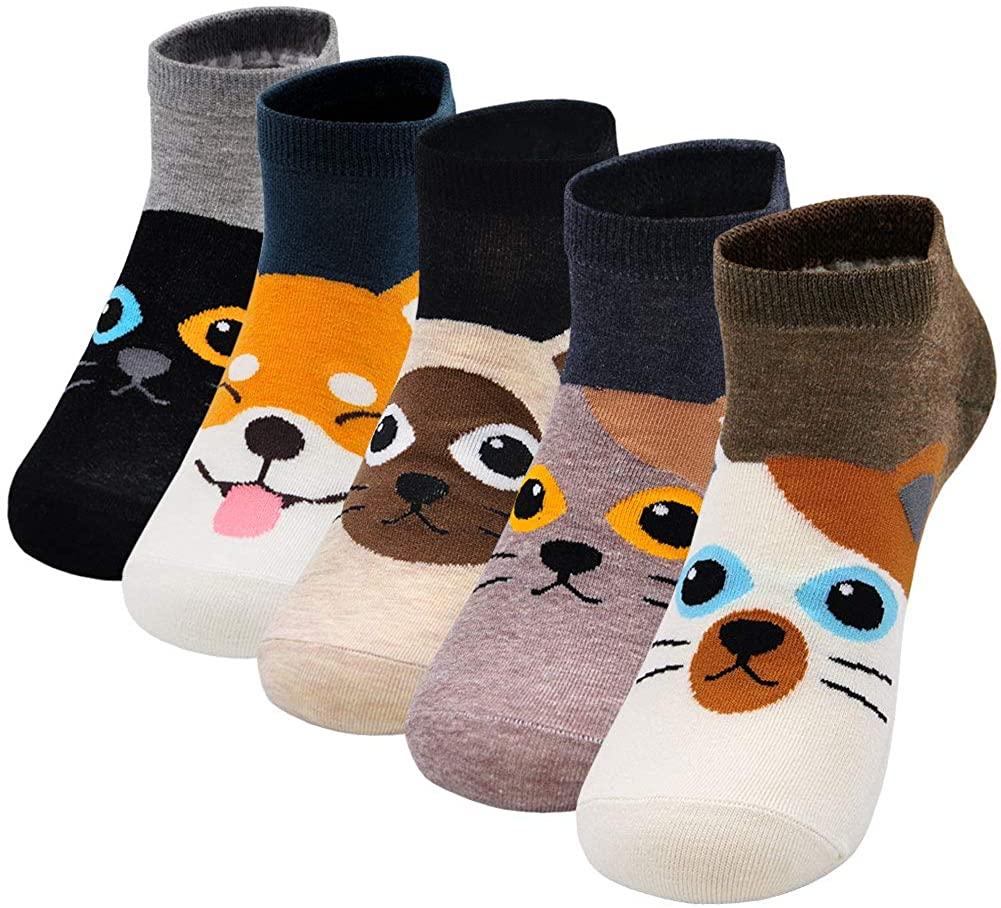 Artfasion Women Sock Cotton Cartoon Animal Food Dog Cat Pattern Ladies Cute Socks