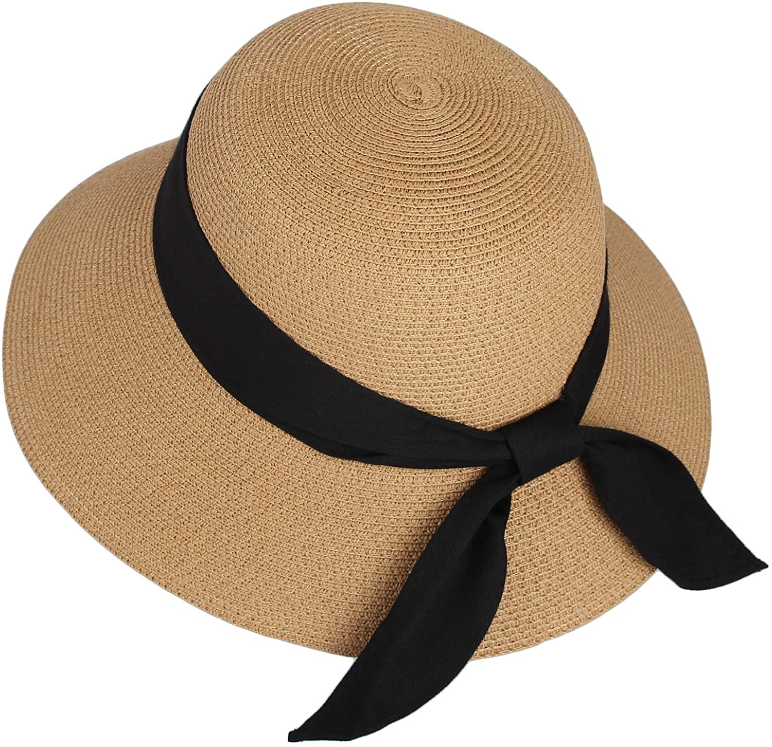 WITHMOONS Floppy Summer Beach Sun Hat Paper Straw Ribbon Banded KR91202 (Beige)