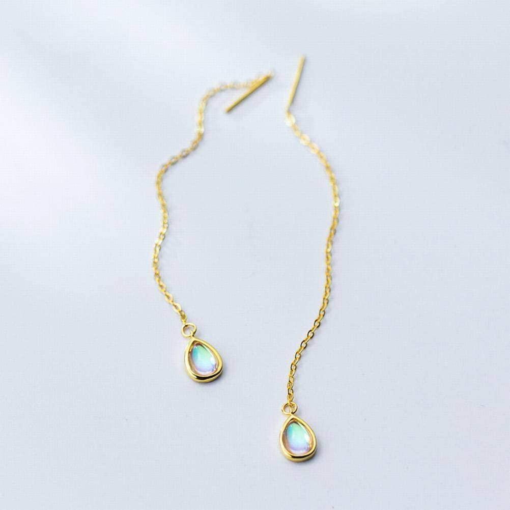K-Earing S925 Silver Ear Line Female Temperament Sweet Color Drop Shape Ear Line Personality Small Ear Jewelry