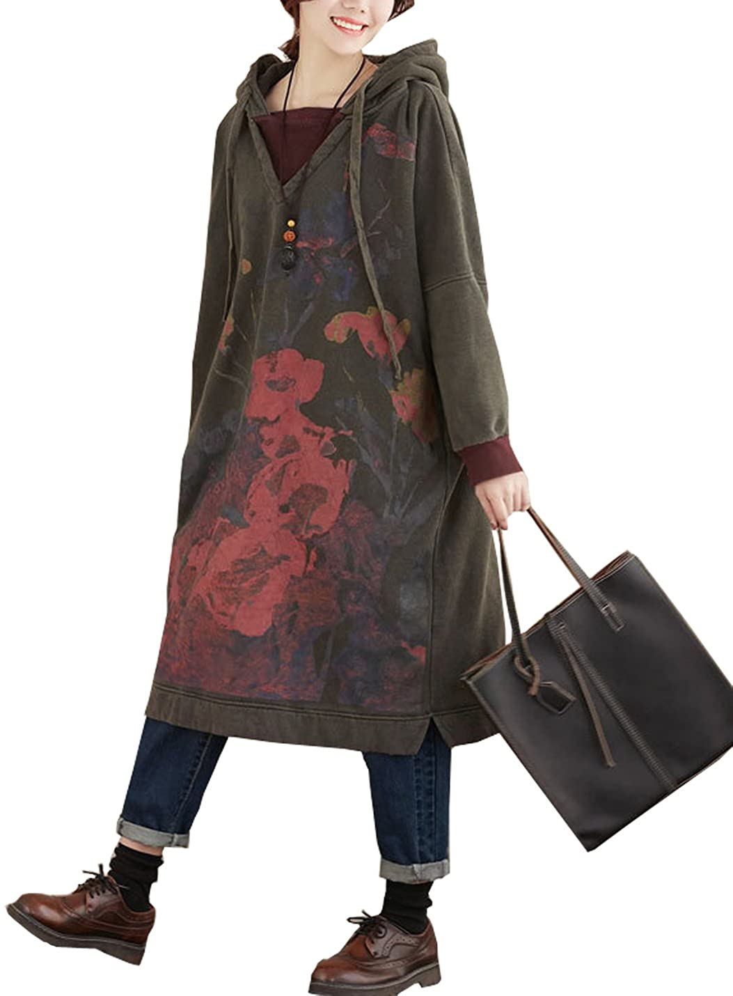 Flygo Women's Loose Pullover Plush Lined Hoodie Floral Printed Long Sweatshirts Outerwear Coat Dress