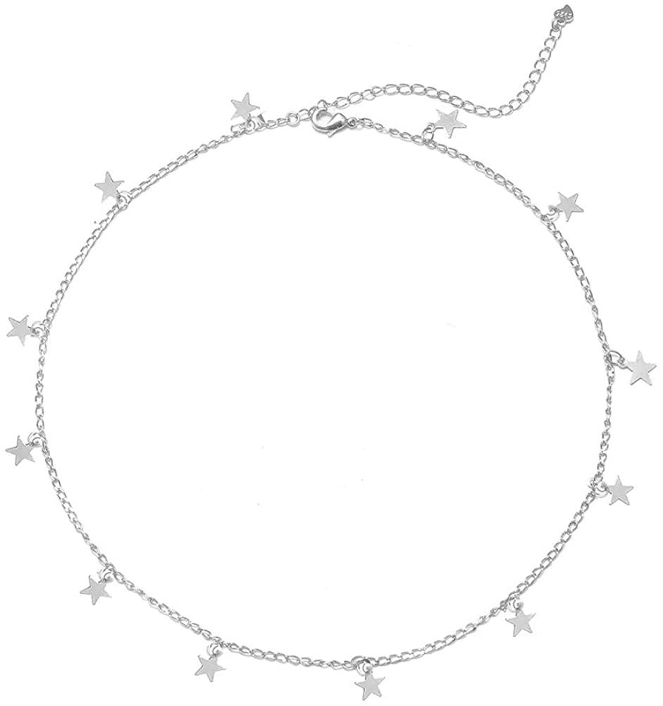 YANCHUN Star Choker Necklace Gold Star Necklace Choker for Women Dainty Choker Necklace Gift