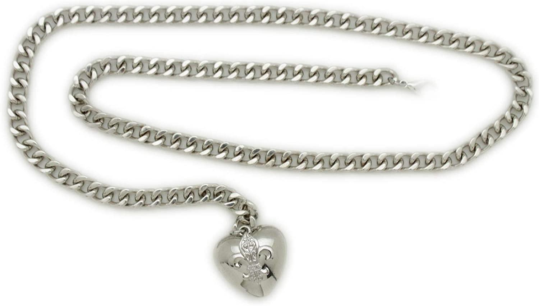 TFJ Women Fashion Silver Metal Chains Belt Hip Waist Love Heart Buckle Charm XS S M
