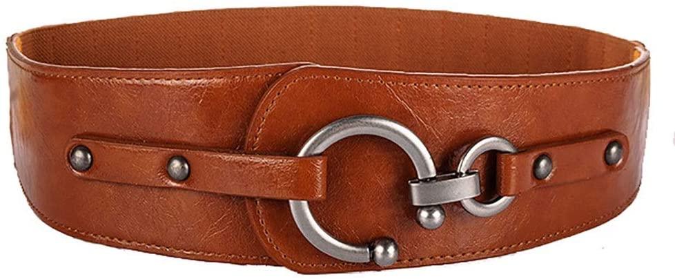 Amyannie Waist Belt Dress Stretch Thick Waist Belts Leather Elastic Wide Belt for Women Ladies Womens Belts (Color : Beige, Size : Free Size)
