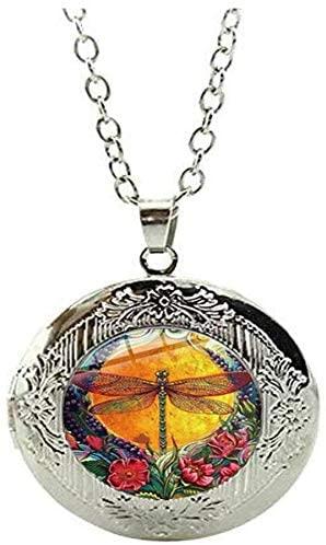 Steampunk Vintage Dragonfly Locket Necklace Garden Flower Charm Jewelry Art Photo Jewelry Handmade Jewelry
