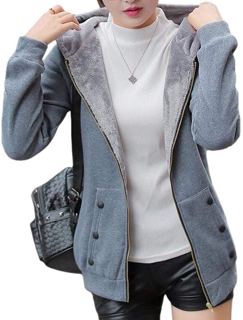 CYJ-shiba Women Winter Fleece Sherpa Lined Hoodie Zipper Sweatshirt Jacket