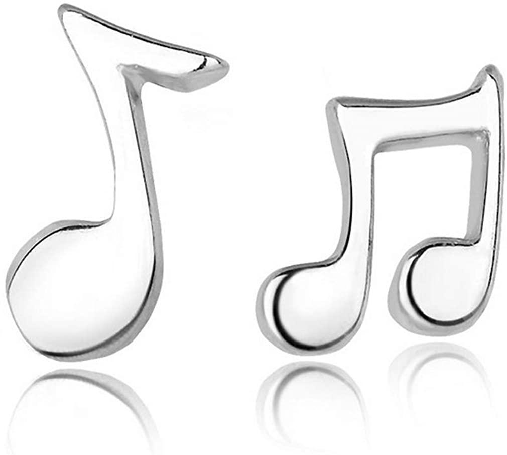 YAZILIND Women Stud Earrings Note Shape Silver Sparkling Earrings Statement Boho Dainty Elegant Sensitive Ear Jewelry