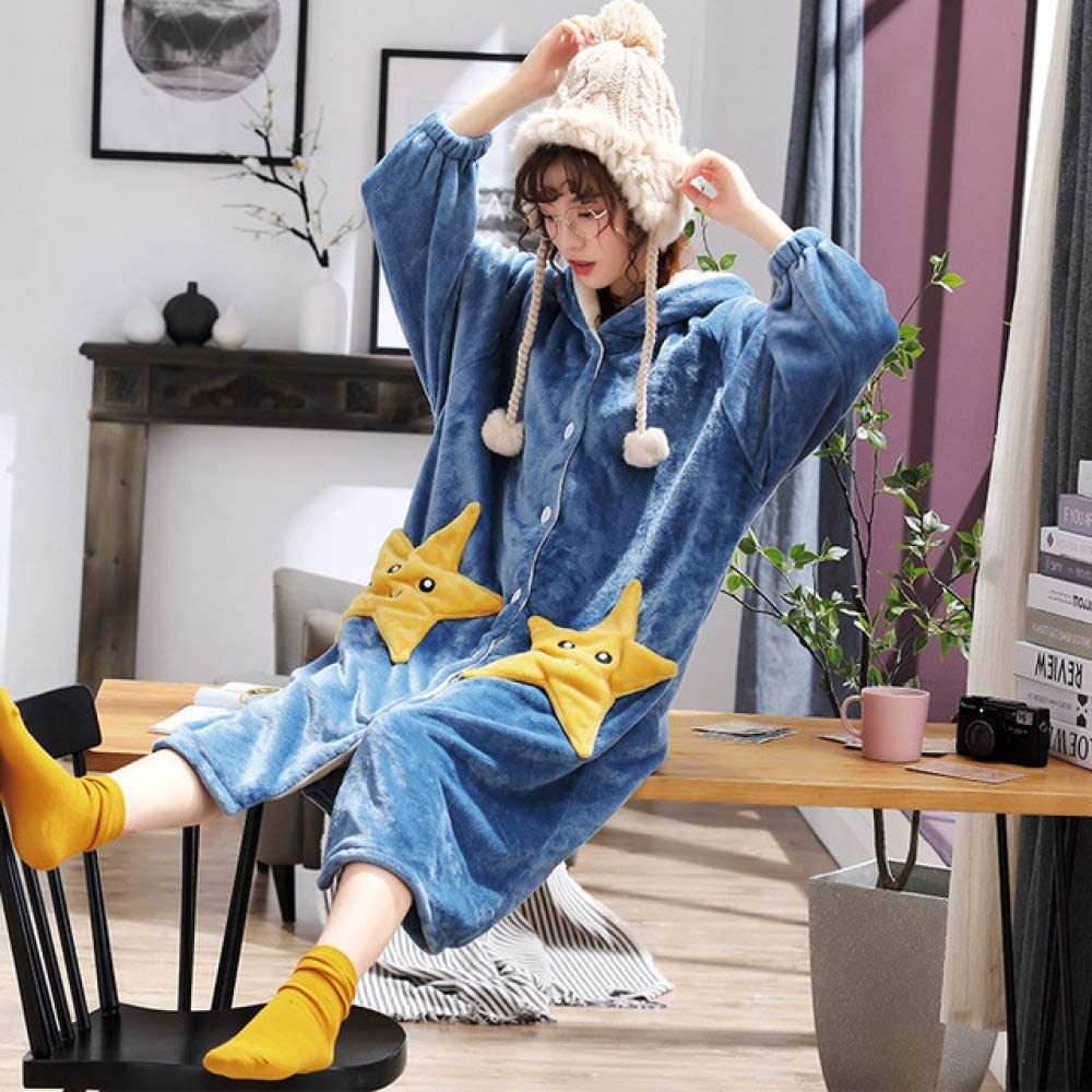 llwannr Loose PersonalityThicken Nightgowns Winter Bathrobe Women Pajamas Bath Flannel Warm Robe Sleepwear Womens Robes Gold Velvet Hat,RHS xiaolia xing hu,XXL