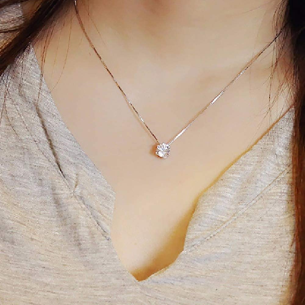 Davitu Fashion Silver Chain Choker Necklace Crystal Rhinestone Zircon Pendant Necklace Wedding Jewelry #253445