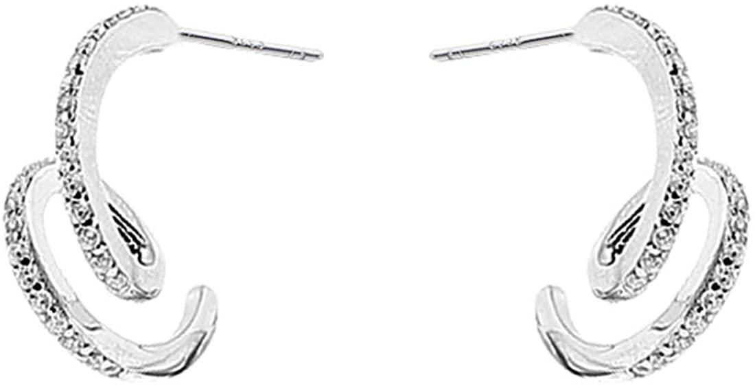 SLUYNZ 925 Sterling Silver Double Wave Wrap Earrings Studs for Women Teen Girls Ear Piercing Minimalist Cuff Earrings