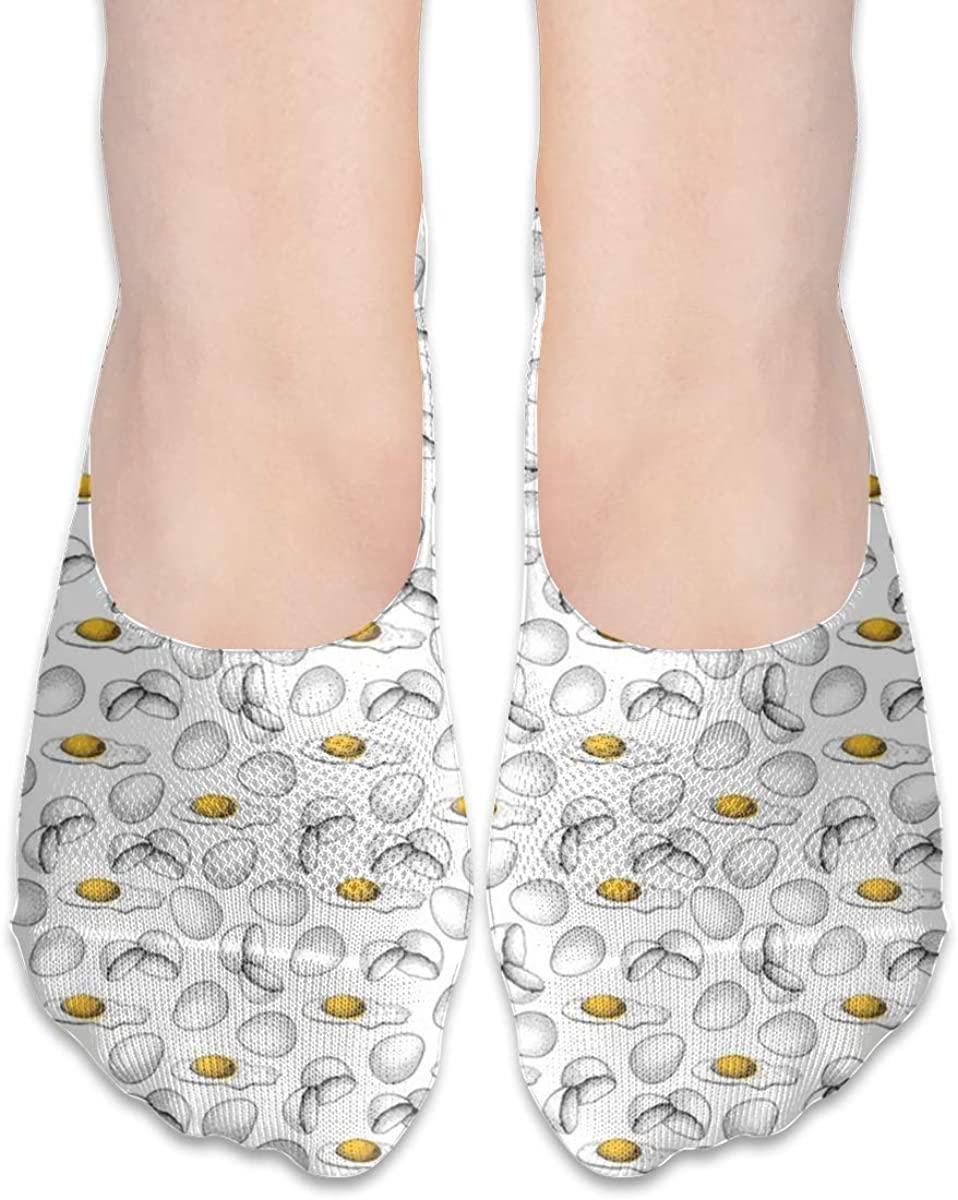 Chicken Egg Yolk No Show Socks Womens Low Cut Non Slip Ankle For Loafer