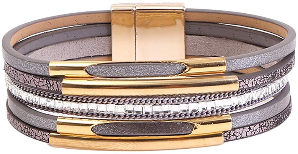 YAZILIND Leather Wrap Bracelets Cuff Bangle Charm Multilayer Bracelet Women Jewelry with Magnetic Buckle-2Pcs