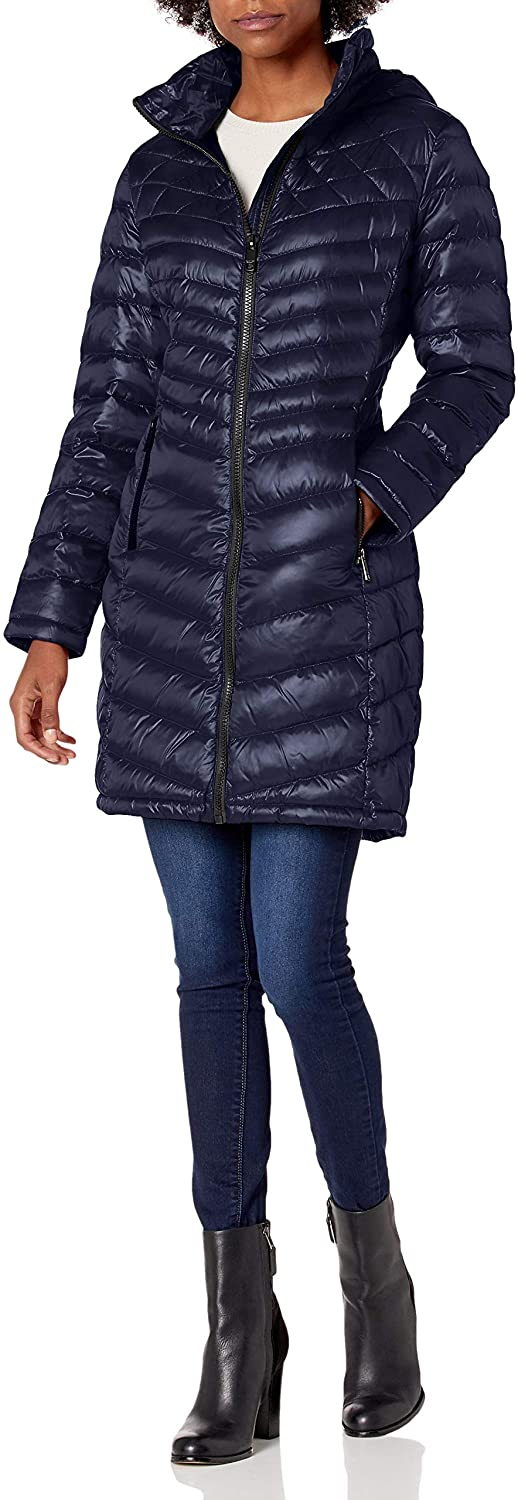 Calvin Klein Womens Walker Packable with Hood and Stand Collar