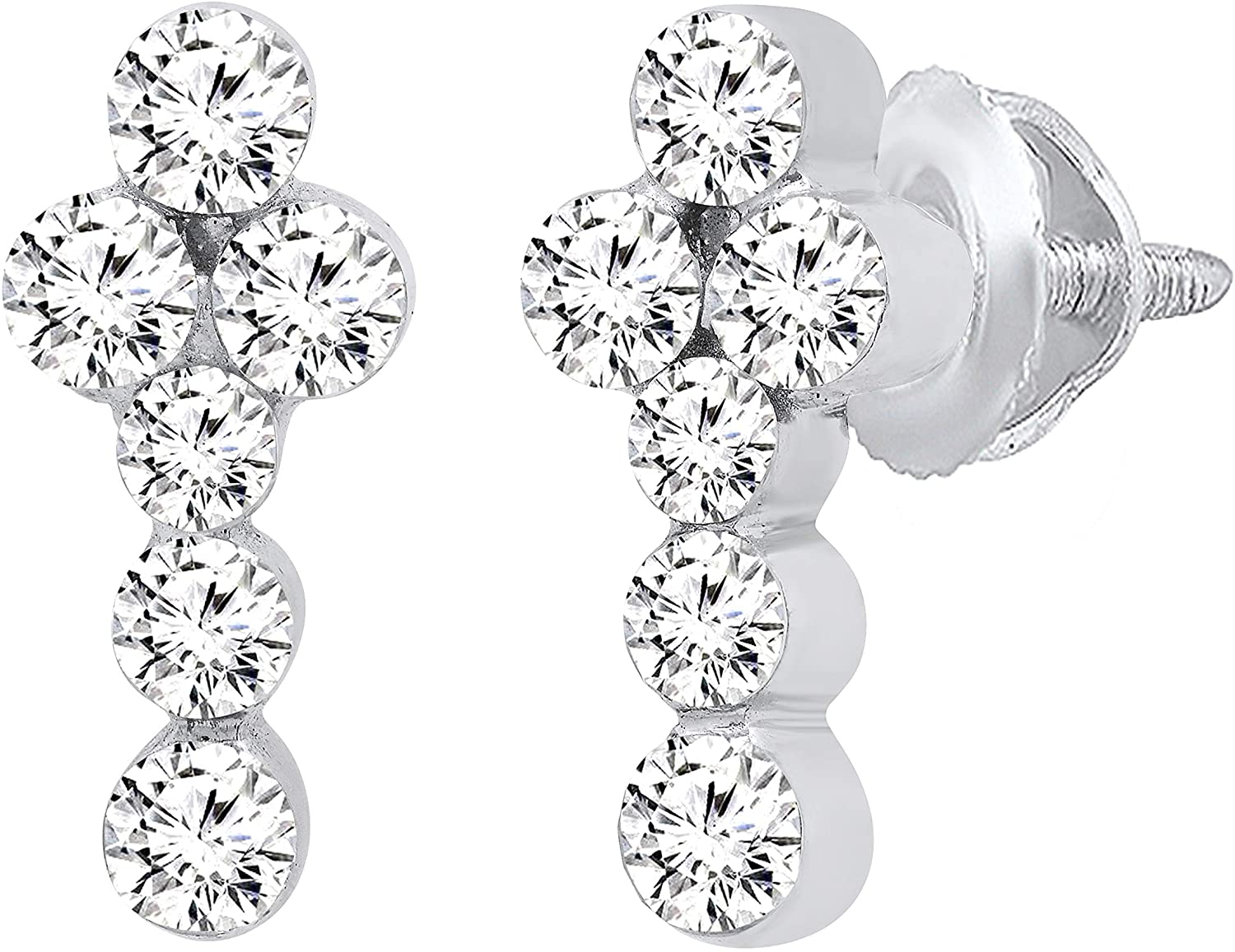 Dazzlingrock Collection 1.14 Carat (ctw) Round White Diamond Ladies Prong Set Cross Stud Earrings, Available in 10K/14K/18K Gold