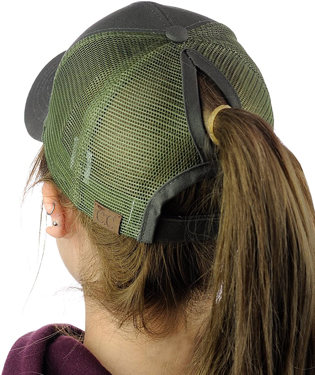 C.C Ponycap Messy High Bun Ponytail Adjustable Mesh Trucker Baseball Cap Hat