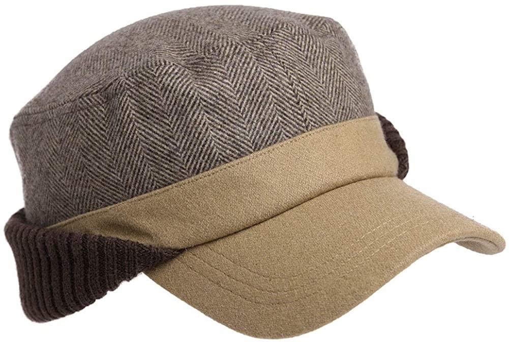 Women Men 42% Wool Elmer Fudd Fitted Hunting Military Cold Weather Hat Winter Baseball Cap Ear Flaps Eermuffs Khaki 56-58cm