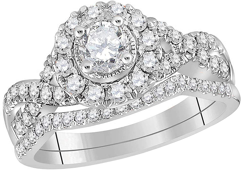 Dazzlingrock Collection 0.97 Carat (ctw) Round Diamond Twist Halo Bridal Wedding Ring Set 1 ctw, 14K White Gold