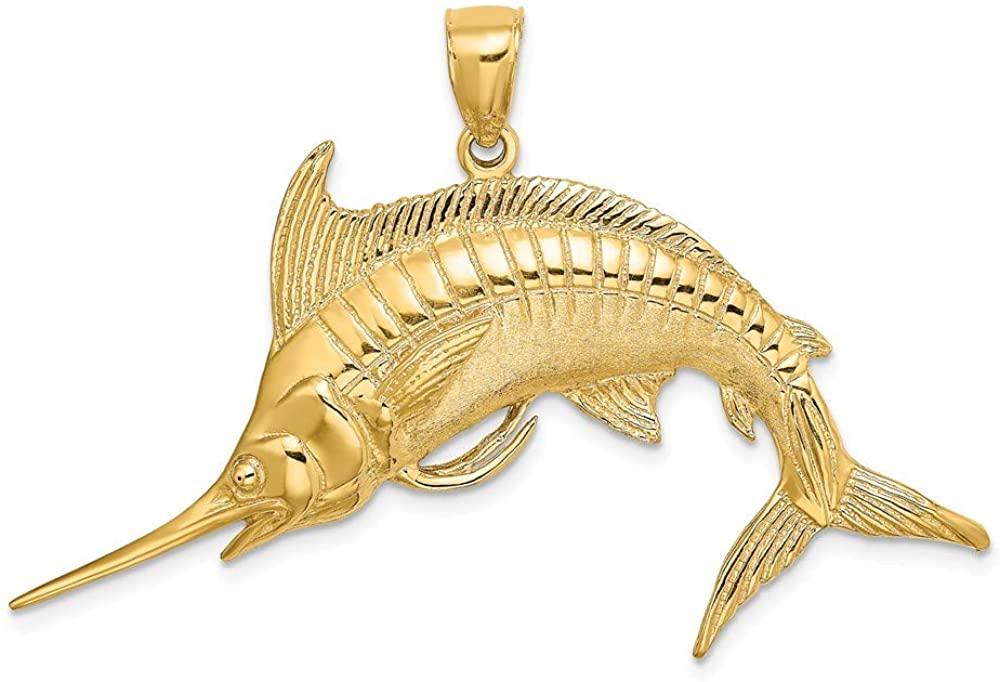 14K Yellow Gold 2-D Polished & Satin Blue Marlin Pendant K8109