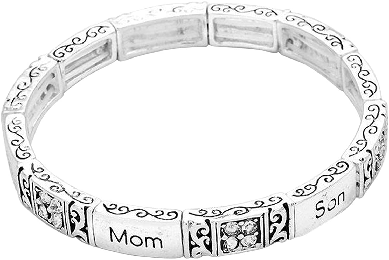 Rosemarie Collections Womens Mom Son Will Hold Your Heart a Lifetime Stretch Bracelet