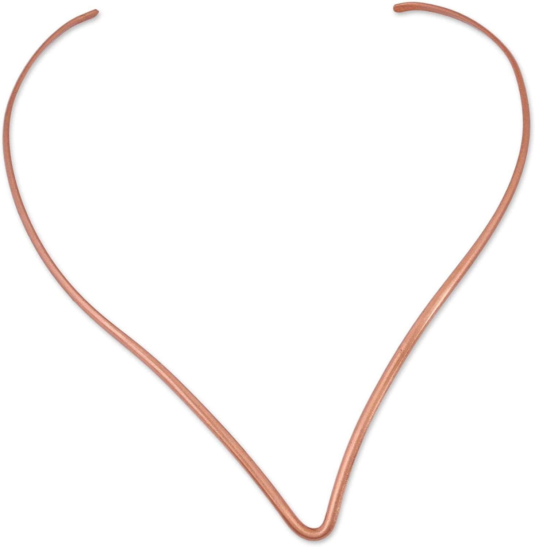 NOVICA No Stone Copper Collar Necklace 'Elegant Point'