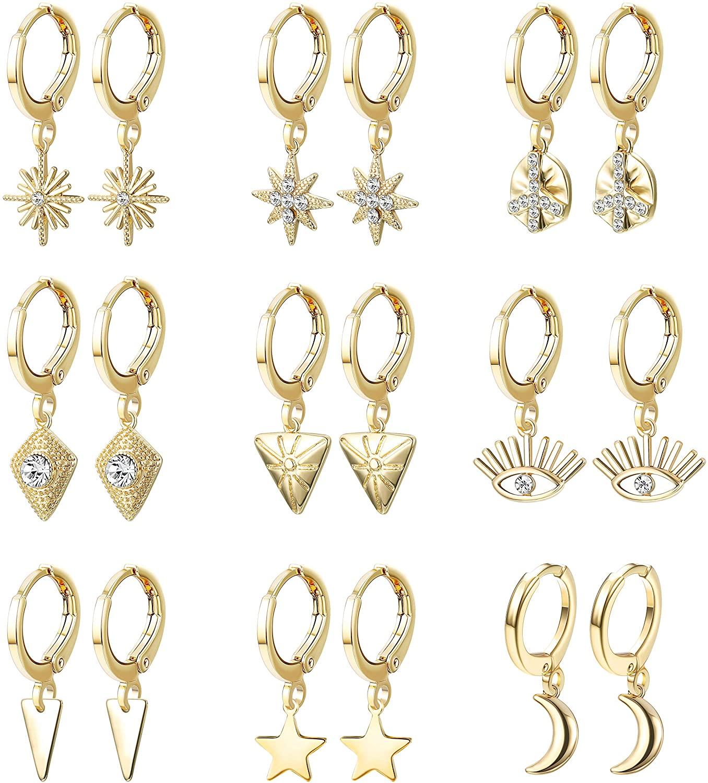 Hanpabum Small Dangle Hoop Earrings Cute Star Moon Evil Eye Charm Mini Huggie Hoop Earrings for Women Gold/Silver