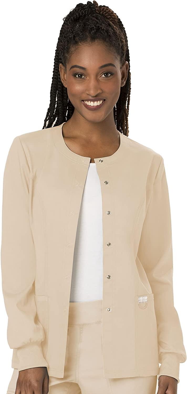 Cherokee Women's Snap Front Warm-up Jacket, Khaki, XXX-Large